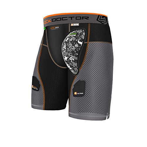 Shock Doctor Herren 's AirCore Hard Cup Ultra Powerstride Hockey Shorts XXL schwarz/grau von Shock Doctor