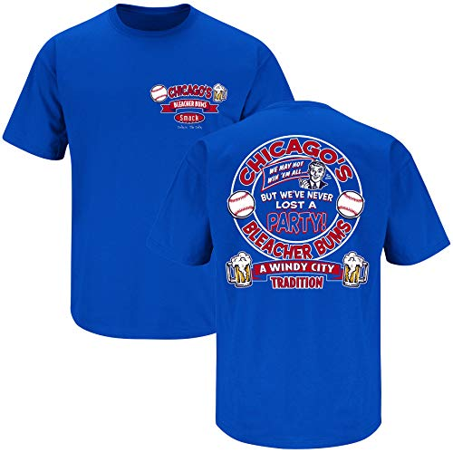 Smack Apparel Chicago Baseball-Fans. Bleacher Bums Royal T-Shirt (S-5X), Herren, königsblau, X-Large von Smack Apparel