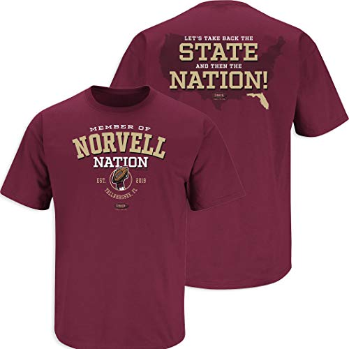 Smack Apparel Florida State Fußball-Fans. Members of Norvell Nation T-Shirt Granat, Herren, Granat, Small von Smack Apparel