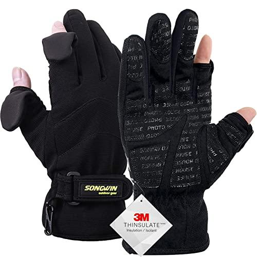 ff9fcc4da82e60 Songwin Wasserdichte Winterhandschuhe,3M Thinsulate Ski & Snowboard  Handschuhe für Herren und Damen,Touchscreen-Handschuhe zum  Angeln,Fotografieren,Jagen im ...