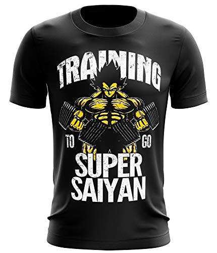 Stylotex Fitness T-Shirt Herren Sport Shirt Training to go Super Saiyan Vintage Gym Tshirts für Performance beim Training | Männer Kurzarm | Funktionelle Sport Bekleidung, Größe:XXL, Farbe:schwarz von Stylotex