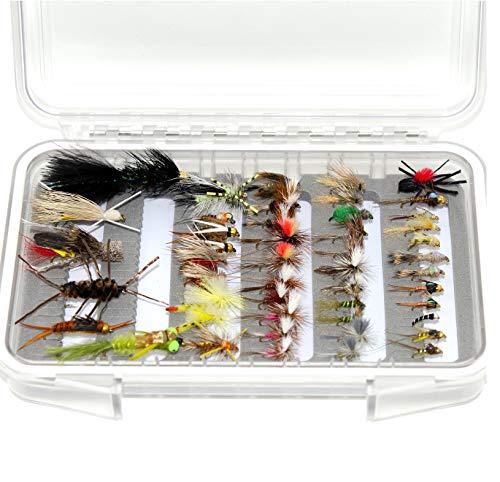 Nymphen 36//64//72//76//80 // 96Stk Streamers Popper Bassdash Fliegenfischen Fliegen Set Forellenbarschangeln mit Fliegenbox Mit Trockenfliegen//Nassfliegen