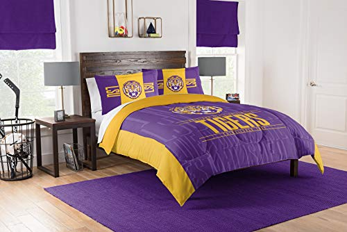 THE NORTHWEST COMPANY NCAA LSU Tigers Unisex Modern Take Full/Queen Tröster & Shams Set, lila, Full/Queen von THE NORTHWEST COMPANY