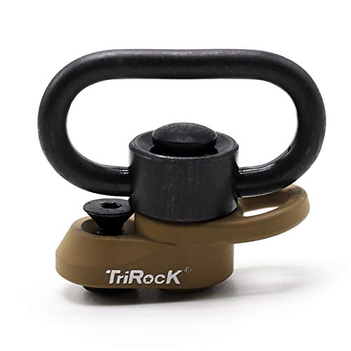 TRIROCK 1.25 inch Swivel Loop Push Button QD Combo TAN/FDE Sling Mount Base fits Keymod Rail with clever Hole for Snap Clip Hook Spring von TRIROCK