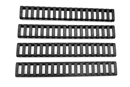 TRIROCK 4-Pack Black Heat Resistant Rifle Handguard Protector Rubber Ladder Rail Cover Fits Weaver Picatinny Rail von TRIROCK
