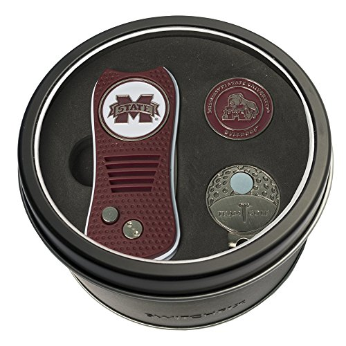 Team Golf NCAA Mississippi State Bulldogs Gift Set Switchblade Divot Tool, Cap Clip, 2 Double-Sided Enamel Ball Markers, Patented Design, Less Damage to Greens, Switchblade Mechanism von Team Golf