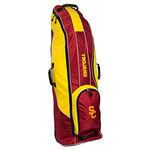 Team Golf NCAA USC Trojans Travel Golf Bag, High-Impact Plastic Wheelbase, Smooth & Quite Transport, Includes Built-in Shoe Bag, Internal Padding, ID Card Holder von Team Golf
