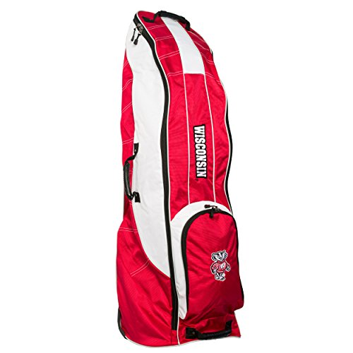 Team Golf NCAA Wisconsin Badgers Travel Golf Bag, High-Impact Plastic Wheelbase, Smooth & Quite Transport, Includes Built-in Shoe Bag, Internal Padding, ID Card Holder von Team Golf