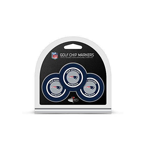 Team Golf NFL New England Patriots Golf Chip Ball Markers (3 Count), Poker Chip Size with Pop Out Smaller Double-Sided Enamel Markers,Multi von Team Golf