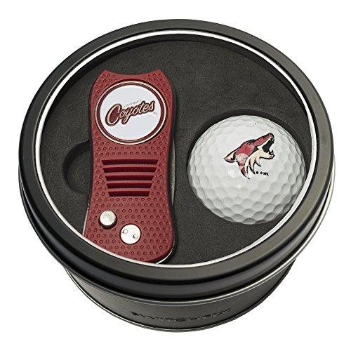 Team Golf NHL Arizona Coyotes Gift Set Switchblade Divot Tool with Double-Sided Magnetic Ball Marker & Golf Ball, Patented Single Prong Design, Less Damage to Greens, Switchblade Mechanism von Team Golf