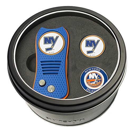 Team Golf NHL New York Islanders Gift Set Switchblade Divot Tool with 3 Double-Sided Magnetic Ball Markers, Patented Single Prong Design, Causes Less Damage to Greens, Switchblade Mechanism von Team Golf
