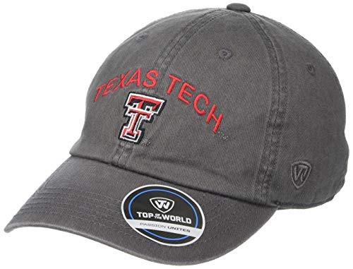 Top of the World Texas Tech Red Raiders Herren verstellbare Relaxed Fit Charcoal Arch Hat Adjustable von Top of the World