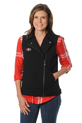 UG Apparel NCAA Georgia Bulldogs Women's Quilted Moto Vest, Large, Black von UG Apparel