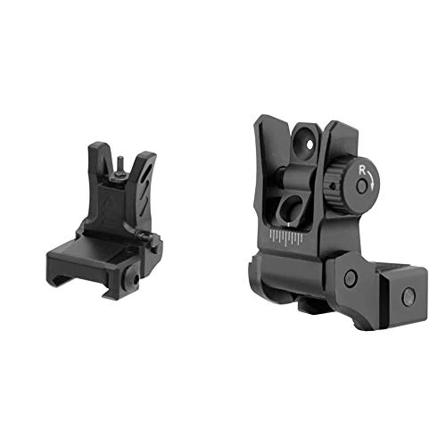 UTG MNT-755 Visier schwarz One Size & UTG Low Profile Flip-up Rear Sight with Dual Aiming Aperture MNT-955 Visier schwarz, one Size von UTG