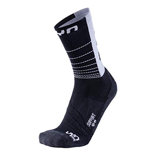 UYN Herren Cycling Support Socks Strumpf, Black/White, 45/47 von UYN