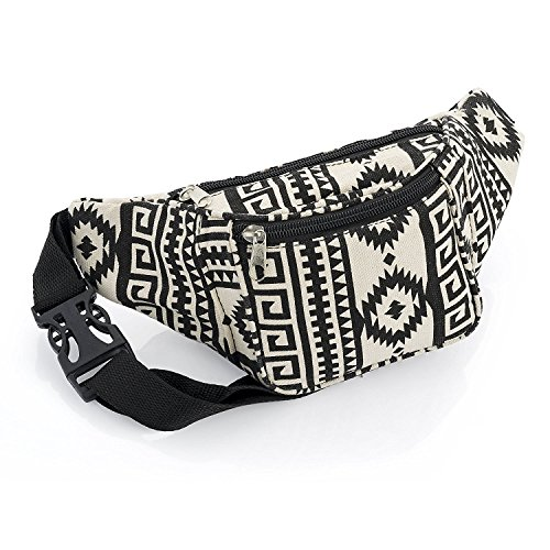 Black and Beige Abstract Design Bum Bag Fanny Pack Festivals Holiday Wear von Unbranded