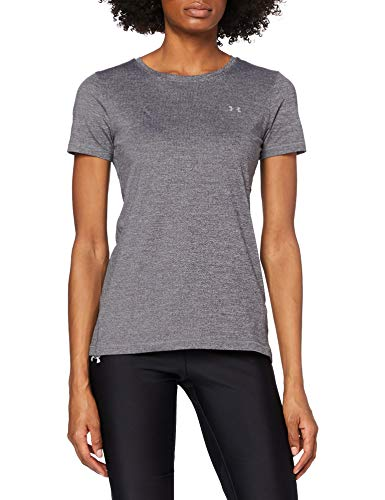 Under Armour Damen Fitness T-Shirt UA HG Armour Kurzarmhemd, Charcoal Light Heather, L von Under Armour