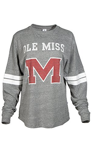 NCAA Damen Betty Long Sleeve Tri Blend Fußball Jersey T-Shirt, Damen, Tri Grey/White, Large von Venley