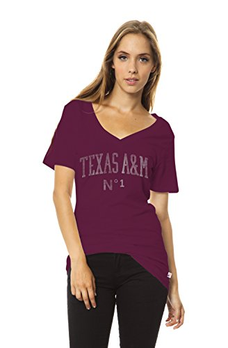 NCAA Damen Molly Slouch Pocket V-Neck Tee, Damen, A&M Maroon, X-Large von Venley