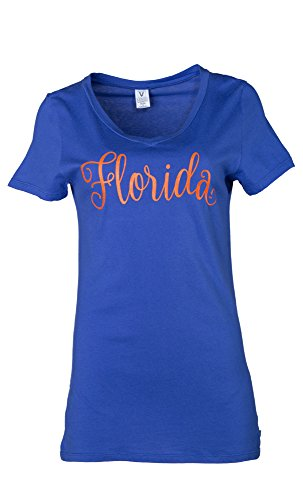 NCAA Florida Gators Ruth Women's Luxurious V-Neck Tee, Large, Royal von Venley