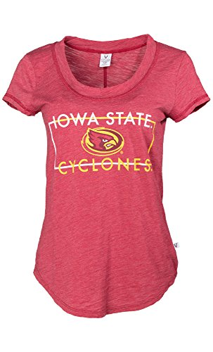 NCAA Iowa State Cyclones Ashley Women's Short Sleeve Slub Knit Fashion Tee, X-Large, Crimson von Venley