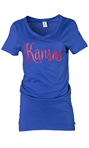 NCAA Kansas Jayhawks Ruth Women's Luxurious V-Neck Tee, Medium, Royal von Venley
