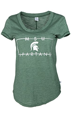 NCAA Michigan State Spartans Ashley Women's Short Sleeve Slub Knit Fashion Tee, Medium, Forest Green von Venley