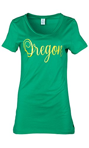 NCAA Oregon Ducks Ruth Women's Luxurious V-Neck Tee, X-Large, Kelly von Venley