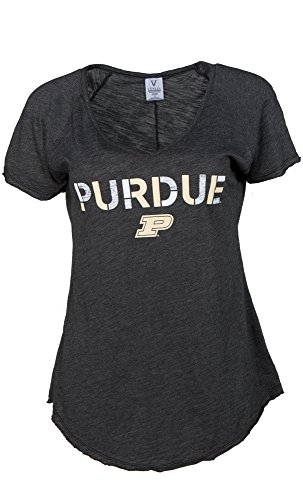 NCAA Purdue Boilermakers Tommy V Women's Slub Knit V-Neck Tee, X-Large, Black von Venley