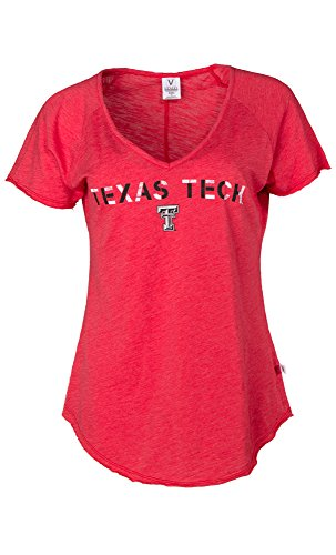 NCAA Texas Tech Red Raiders Tommy V Women's Slub Knit V-Neck Tee, Medium, Red von Venley