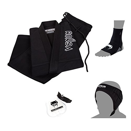 Venum BJJ Basic Bundle, Black Gi, Black Foot Grips, Black Ear Pad, Black/White Mouthguard, Size A1.5 Gi, S. Foot Grips von Venum