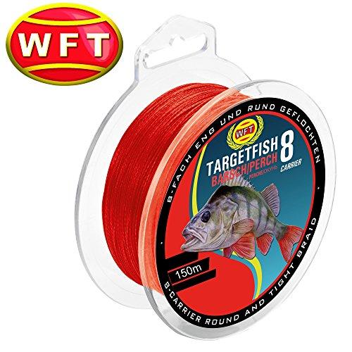 geflochtene Angelschnur zum Barschangeln WFT TF8 Barsch red 150m Barschschnur zum Spinnfischen Schnur f/ür Barsche