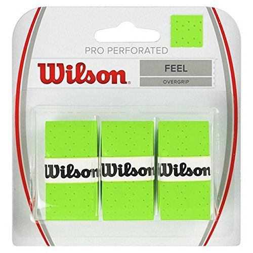 Wilson Pro Overgrip Perforated 3 Pack - White, Green, Pink - Tennis - Badminton - Squash von Wilson