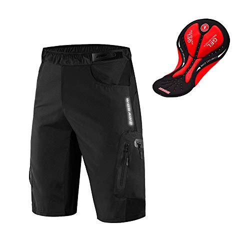 Mysenlan Herren Fahrrad Shorts 3D Gepolsterte Kompression Fahrrad Hose Reithose Schwarz