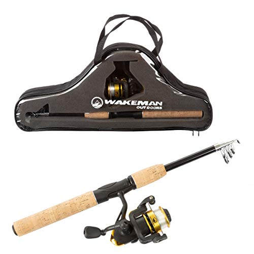 Wakeman Outdoors Fishing Pole – Telescopic 5.5-Foot Carbon Fiber and Cork Rod and Ambidextrous Reel Combo with Carry Case for Lake, Pond or River von Wakeman
