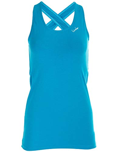 WINSHAPE Damen Functional Tanktop WVR32 mit offenem Drop Back Design, All-Fit Style, Fitness Freizeit Sport Yoga Workout, Türkis, XS von WINSHAPE