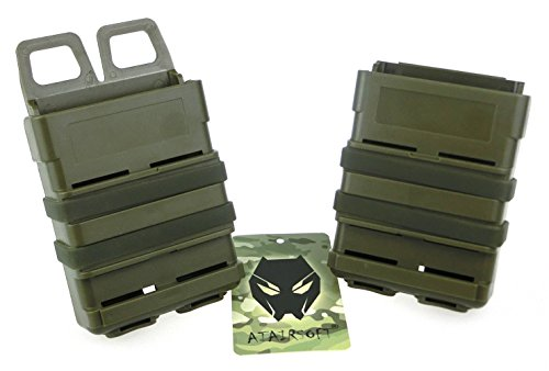 Worldshopping4u Wassertransfer 5.56 Airsoft Rifle Magazine Attach Double Fast Mag Pouch Molle Holster Holder Set Für M4 (OD Green) von WorldShopping4U