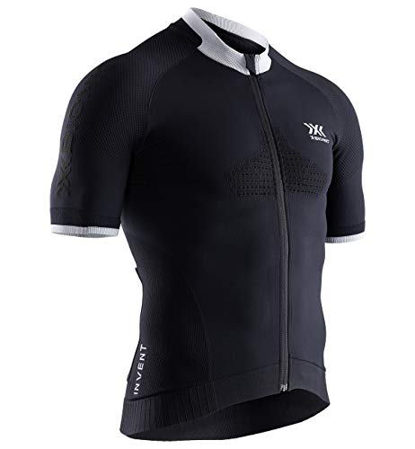 X-Bionic Herren Invent Bike Race Zip, Short Sleeve Shirt, Opal Black/Arctic White, L von X-Bionic