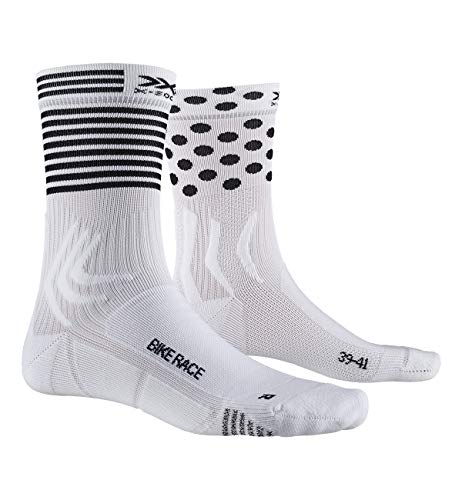 X-Socks Socks Bike Race, Arctic White/Dot/Stripe, 39-41, XS-BS05S19U-W011-39/41 von X-Socks