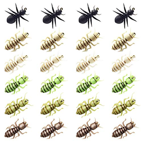 YZD Nymphe Fliegen Set 36 Fly Angeln Köder für Forelle Premium Wet Fliegen Bead Head Nymphe Halle Fliegenfischen Haken Gear Köder Flyfishing Fliegen Sortiment, F Selection of 24 Flies - Assorted von YZD
