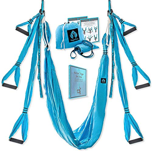 Yoga4You Aerial Yoga Swing Set – Yoga Hängematte Schaukel – Trapez Yoga Kit – 2 Verlängerungsgurte – breit fliegende Yoga Inversion Tool – Antigravity Decke hängen Yoga Sling – Erwachsene Kinder Arial Toga (blau) von Yoga4You