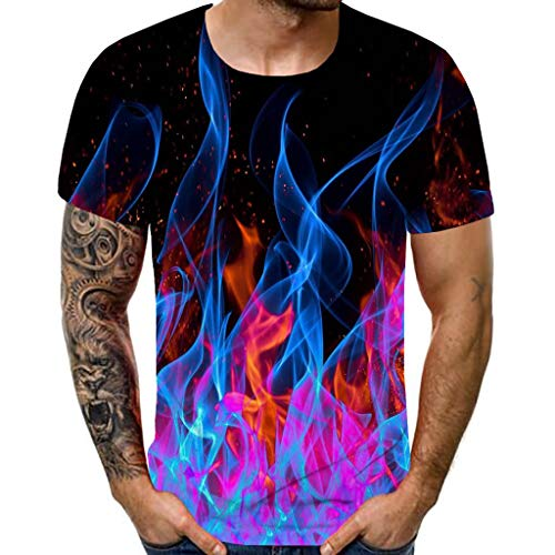 Yowablo T-Shirt Männer Heavyweight Short Sleeve New Sommer Mit Rundhalsausschnitt Blau Flamme 3D Gedruckt Top (XL,3Mehrfarbig) von Yowablo