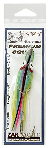 Zak Tackle Rigged Squid Bodies Lure, Light Blue with Black and Pink Stripes von Zak Tackle
