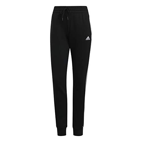 adidas Damen Essentials 3-Streifen SJ Trainingshose, Black/White, L von adidas
