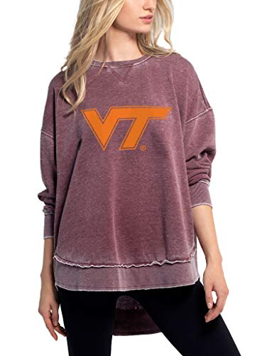 chicka-d NCAA Damen Burnout Campus Pullover, Damen, Merlot, Large von chicka-d