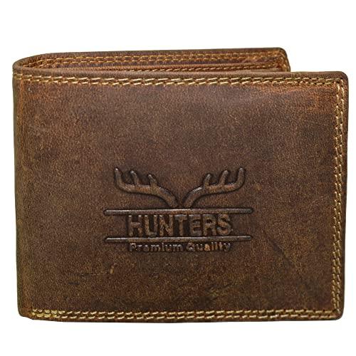 9f165ac55b419 Hunters Leder Geldbeutel Wild Büffel Leder-Geldbörse Natural Hunter Leder Herren  Portemonnaie Herren Geldbeutel