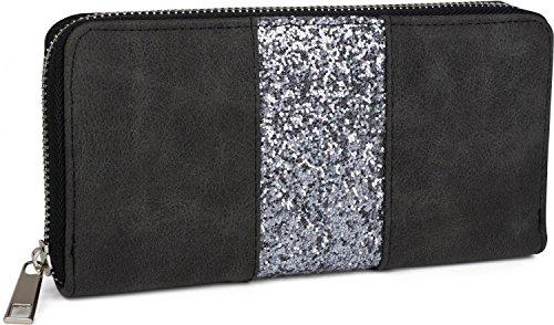 Portemonnaie 02040118 Farbe:Schwarz styleBREAKER Damen Geldb/örse mit Totenkopf Paisley Print Rei/ßverschluss